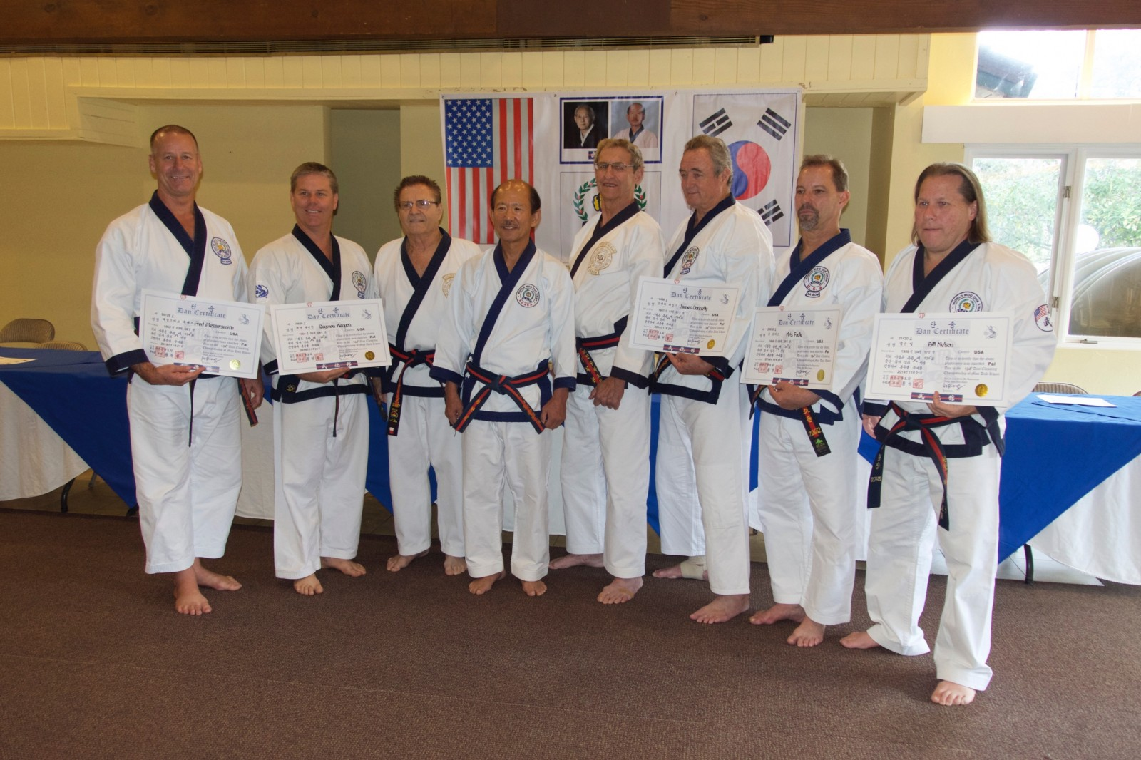 Five Moo Duk Kwan 8th Dan Rank Certifications Awarded<br /><span style='font-family: arial, helvetica, sans-serif; font-size: 12pt; color: teal;'>First Time In Moo Duk Kwan History That Five Members Earn 8th Dan At Same Time</span>